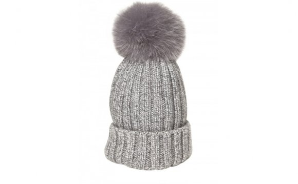 Bun Ribbed Wool Fox Fur Beanie