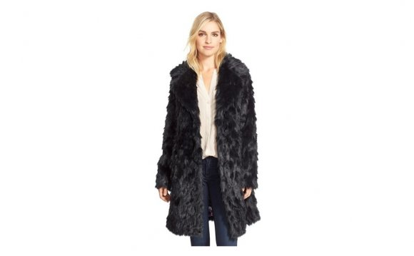 Eliza j Shaggy Faux Fur Coat