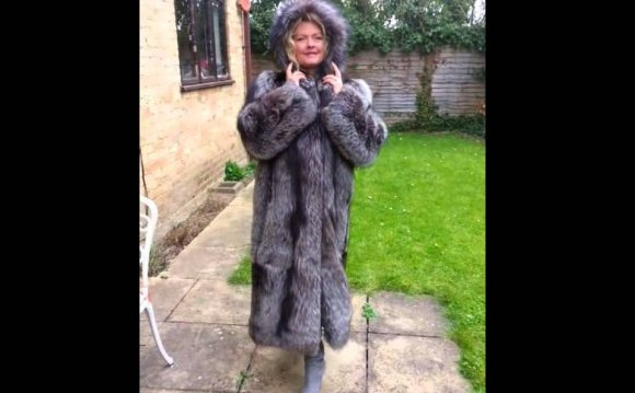 Silver Fox Fur Coat With Fur