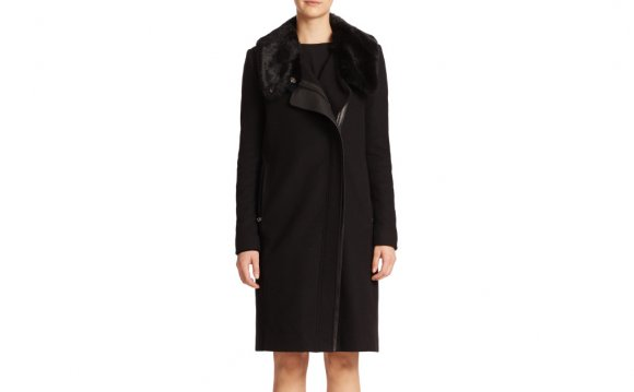 Vince Long Fur-collar Coat in