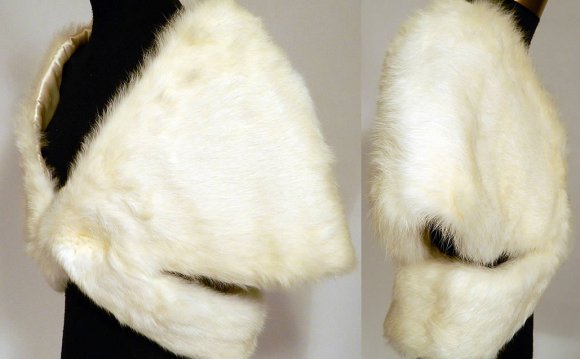 Vintage White Rabbit Fur Stole