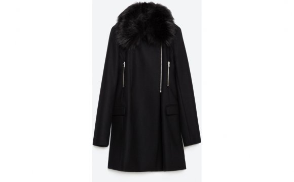 Zara Coat With Faux Fur Collar