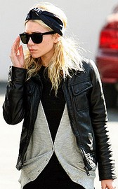 Ashley Olsen wearing leather jacket
