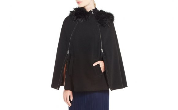 Black Poncho with Fur