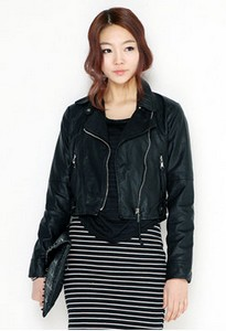 Black biker leather jacket by Haru/YesStyle