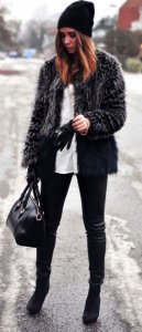 Black Fur Jacket With Black Pants