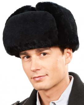 Black Mouton Sheepskin Russian Ushanka Hat