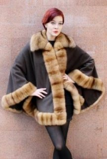 Dark Brown Cashmere Cape with Sable Fur Trim from Marc Kaufman Furs