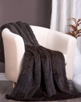 Denmark Knit Mink Fur Throw / Blanket in Mahogany