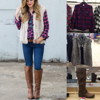 Fashion blogger Brighton Keller's fall outfit idea featuring plaid shirt, faux fur vest and tall boots look for less