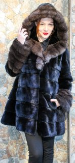 Hooded Mink Stroller with Russian Sable Fur Cuffs & Trim, exclusively from Marc Kaufman Furs in NYC