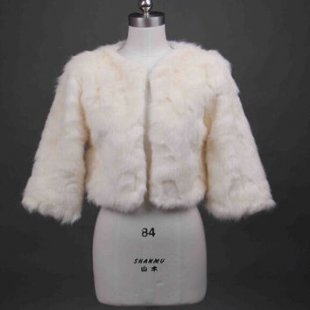 Ivory Bridal Faux Fur Wrap Shrug Bolero Jacket bride wedding accessories coat jacket (Color: Ivory)