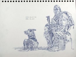 Jimmy and Fausto taking a break. Sketch by Richard Johnson, National Post