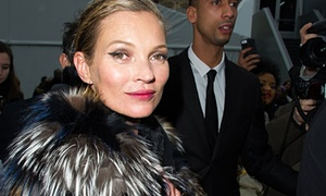 Kate Moss wearing a fur coat at Paris fashion week