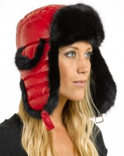 Ladies Red Faux Fur Puffer Hat