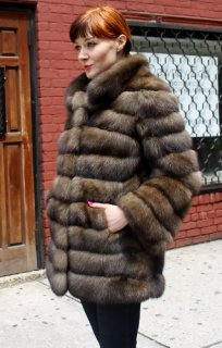 Natural sable short coat, exclusively from Marc Kaufman Furs