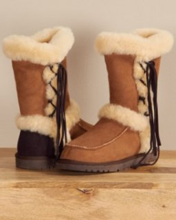 Shearling Sheepskin Two Tone Boots with Suede Lace