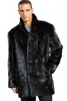 The Aiden V-Cut Sculptured Mink Peacoat in Black
