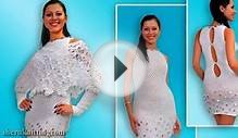 Crochet and Knitting White Collection Dress Coat Poncho Blouse