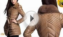 Women Down Leather Coat Designer Fashion Sheepskin Leather