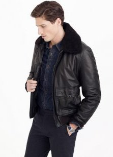 wallace-and-barnes-black-leather-jacket-for-men-sherpa-collar-flight-coat-2016