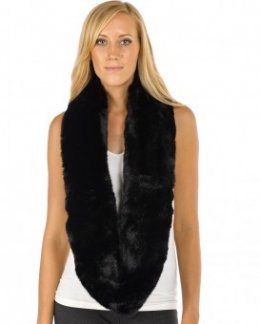 Whitney Premium Faux Fur Infinity Scarf in Black